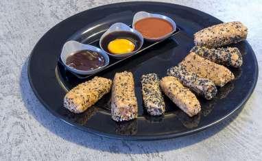 Mi-cuit de saumon pané au sésame