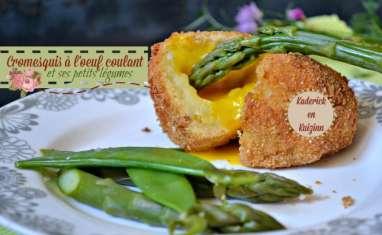 Cromesquis purée à l'œuf coulant et légumes bio