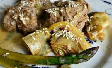 Selle d'agneau aux artichauts poivrade et asperges vertes