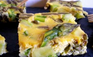 Tortilla pommes de terre, asperges et haricots verts