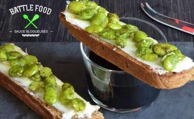 Bruschetta aux fèves et pecorino pepato