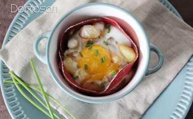 Oeuf cocotte Coppa, champignons, pommes de terre