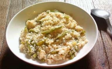 Risotto au poulet et haricots verts