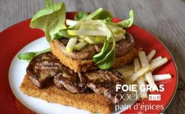Foie gras poêlé sur pain d'épices et pommes granny smith