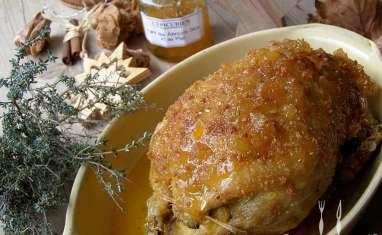 Canette aux poires et au miel et fagots de haricots verts