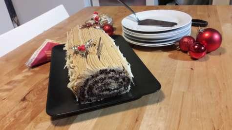 Bûche de Noël au chocolat et café