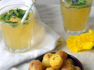 Pommes de terre rôties à la lavande et mojito au sirop de lavande