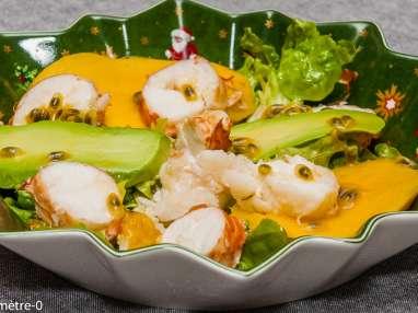 Salade de langouste, mangue, avocat et fruit de la passion