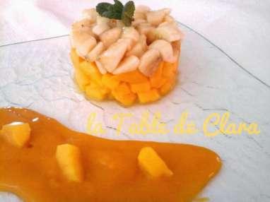Tartare mangue banane et coulis de mangue