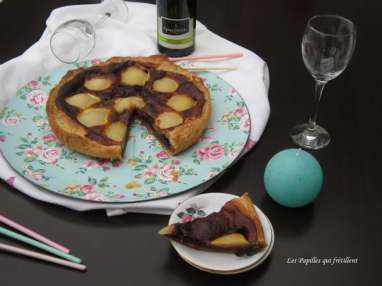 Tarte poires, chocolat au caramel