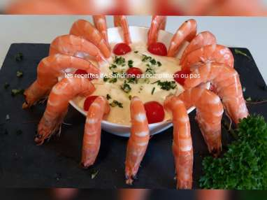 Assiette de crevettes roses et son aïoli mousseux
