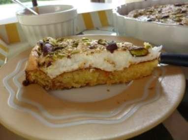 Gâteau au confiture d'abricot au glaçage aux guimauves
