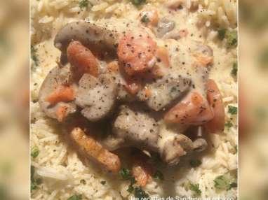 Blanquette de veau, carottes, champignons
