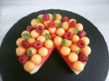 Tarte pastèque au melon et framboise