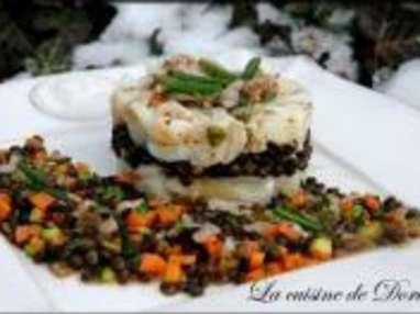 Salade de Cabillaud aux Lentilles Beluga et Mirepoix de Légumes