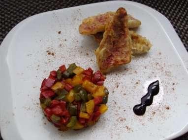 Rouget en Tempura, brunoise aux 3 poivrons et caramel balsamique