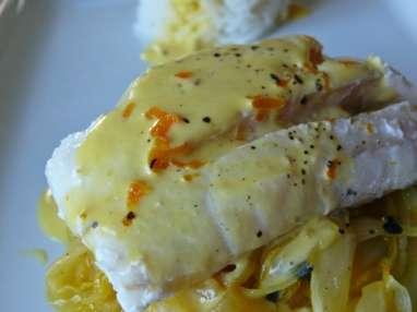 Eglefin sauce clémentine et endives confites passion