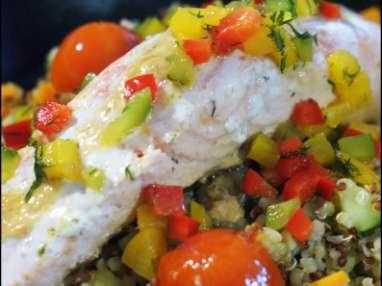 Saumon et boulgour aux légumes