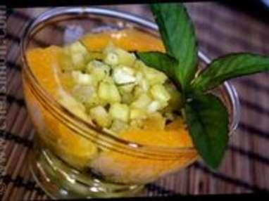 Tartare ananas gingembre et menthe