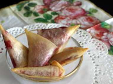 Samoussas framboises et chocolat blanc