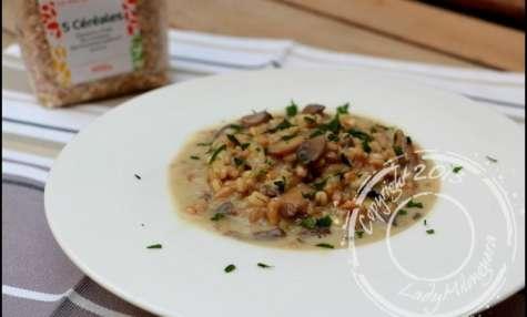 Risotto de céréales aux champignons, mozzarella et parmesan