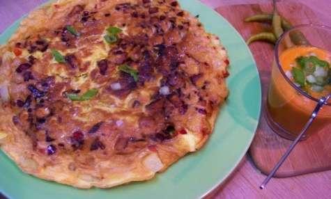 Gaspacho et Tortilla aux pimientos, poivron rouge et pommes de terre