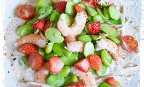 Salade de fèves aux fraises et aux crevettes sauce coco