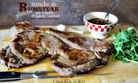 Rumsteak boeuf cuisson à la plancha et confit d'oignon au anchois