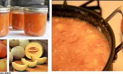 Confiture de pêches melons, au miel et aux épices