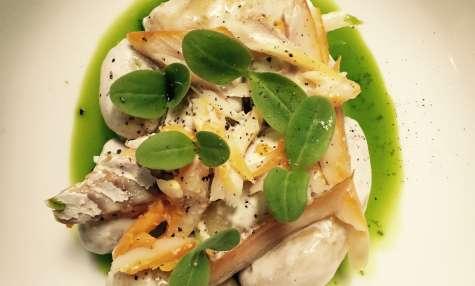 Haddock fumé, Pommes de terre nouvelles, Pousse de bourache, Huile de persil