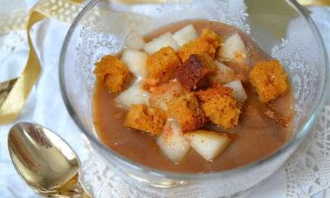 Trifle vegan à la poire, pain d'épices et crème de marrons