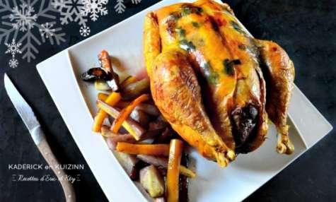 Poularde farcie au foie gras et légumes anciens rôtis