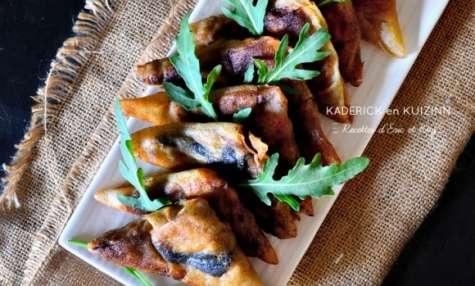 Samoussas de Noël au poulet et farce au foie gras