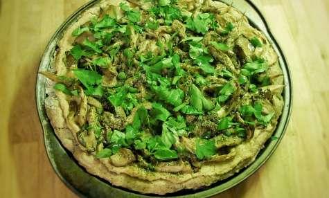 Pizza crémeuse aux champignons