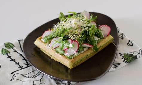 Gaufres au chou kale, et légumes de printemps