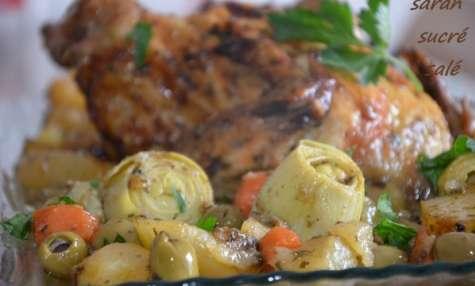 Poulet rôti facile et ses légumes
