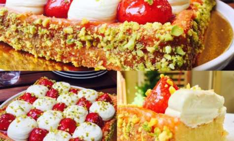 Tarte aux fraises et crème pistache