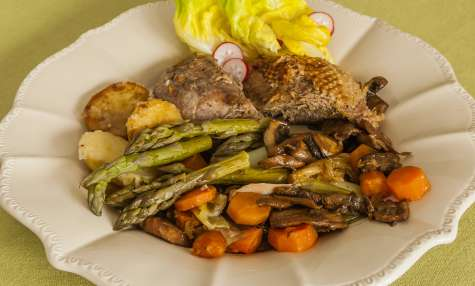 Oie aux légumes printaniers