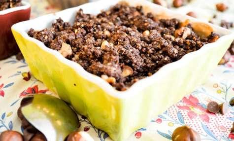 Crumbles poires, chocolat & noisettes
