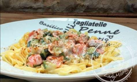 Linguine aux courgettes et saumons