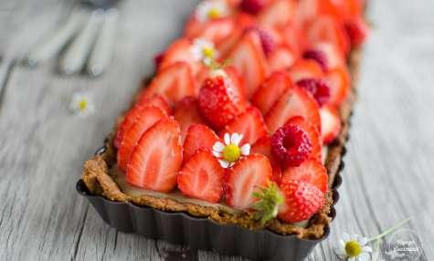 Tarte aux fraises IG bas avec pâte sablée et crème pâtissière
