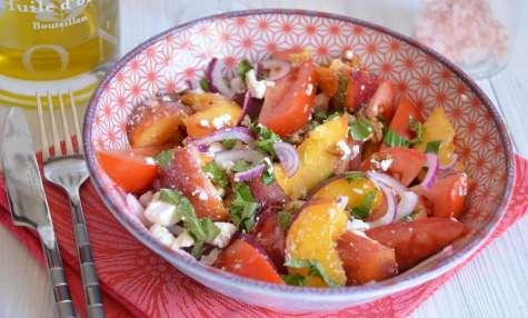 Salade tomates nectarines feta