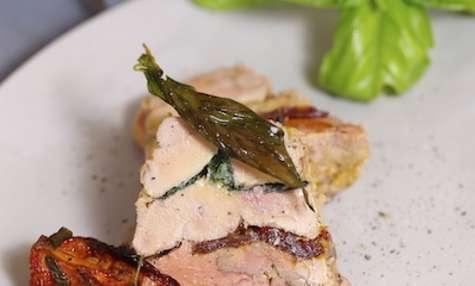 Pressé de foie gras au basilic et tomates confites