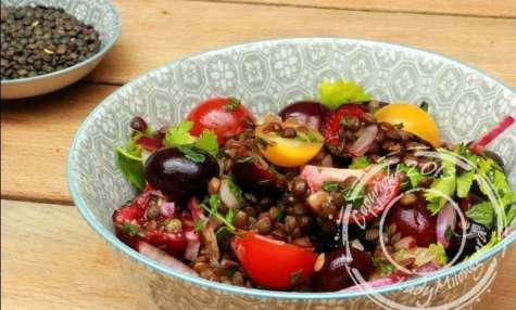 Salade de lentilles aux cerises aux parfums asiatiques