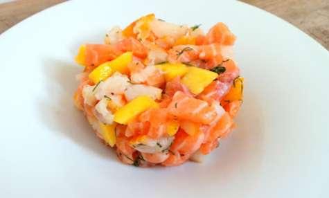 Tartare de saumon frais et de haddock fumé à la mangue