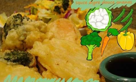 Beignets de légumes de saison, sauce à l'ananas