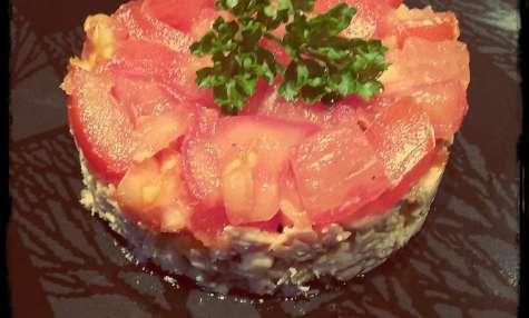Pavé de saumon au tartare de tomates à la confiture d'oranges