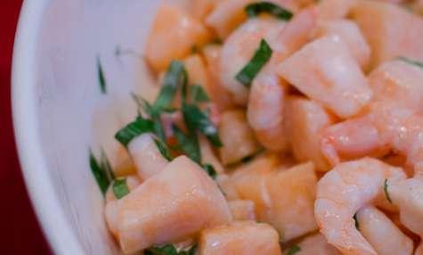 Salade de crevettes et de melon