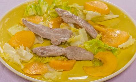 Salade de nectarines au filet de canard