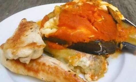 Aubergines à la burrata et au coulis de tomate